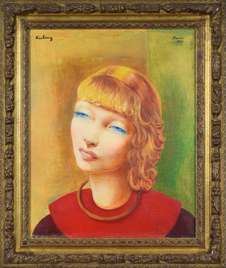 Moise Kisling Portrait Painting - Jeune Fille Rousse by Moïse Kisling - portrait by post-Impressionist artist
