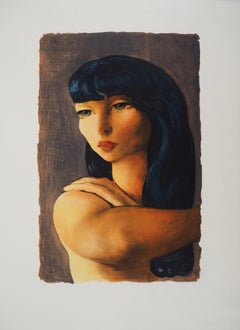 Dark Hair Woman with Tall Eyes - Lithograph