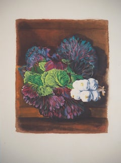 Still-life with Cabbage and Garlic - Original Lithograph