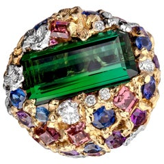 Moiseikin 18 Karat Gold Diamond 10 Carat Green Tourmaline Sapphire Cocktail Ring