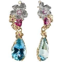Moiseikin 18 Karat Gold Diamond Aquamarine Cocktail Earrings