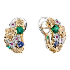 Moiseikin 18 Karat Gold Diamond Emerald Sapphire Flower Earrings