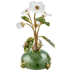 Moiseikin 18 Karat Gold Flower Miniature Chamomile Interior Decoration