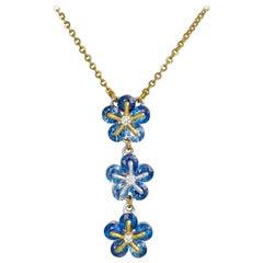 Moiseikin 18 Karat Gold Sapphire Diamond Necklace