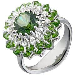 Moiseikin 18 Karat White Gold 2.18 Carat Demantoid Garnet Diamond Ring