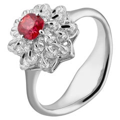 Moiseikin 18 Karat White Gold Burmese Neon Spinel Diamond Ring