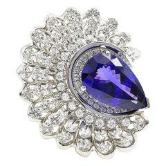 Moiseikin 18 Karat White Gold Diamond 9 Carat Tanzanite Ring