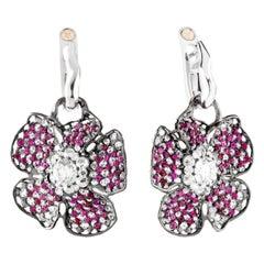 Moiseikin 18 Karat White Gold Diamond Ruby Poppy Flower Dangle Drop Earrings