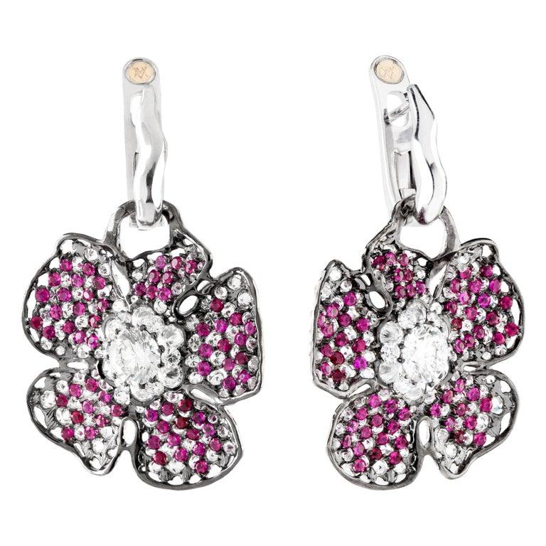43bf30c0f Moiseikin 18 Karat White Gold Diamond Ruby Poppy Flower Dangle Drop Earrings  For Sale
