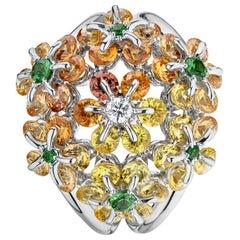 Moiseikin 18 Karat White Gold Fancy Sapphire Diamond Ring