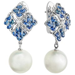 Moiseikin 18 Karat White Gold Round South Sea Pearl and Sapphire Earrings