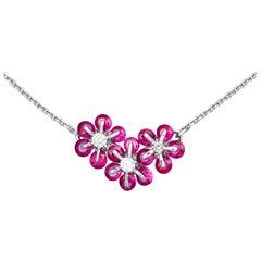 Moiseikin 18 Karat White Gold Ruby Diamond Necklace