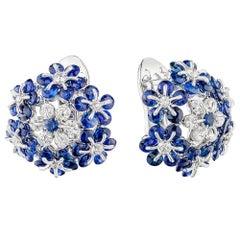 Moiseikin 18 Karat White Gold Sapphire Diamond Earrings