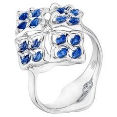 MOISEIKIN 18 Karat White Gold Sapphire Ring