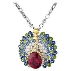 Moiseikin 18k Gold Rubellite Diamond Sapphire Demantoid Peacock Pendant Necklace