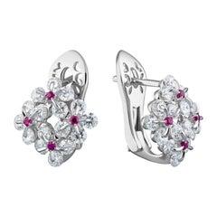 Moiseikin 18k White Gold Diamond Innovative Earrings