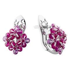 MOISEIKIN 18k White Gold Ruby and Sapphire Earrings