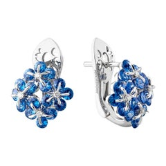 Moiseikin 18k White Gold Sapphire Innovative Earrings