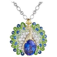 Moiseikin 18 Karat Gold Tanzanite Diamond Sapphire Peacock Pendant Necklace
