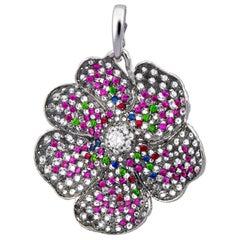 Moiseikin 18 Karat Gold 4 Carat Diamond Ruby Poppy Flower Pendant Brooch