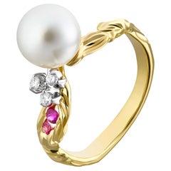 Moiseikin 18 Karat Gold Akoya Pearl Diamond Flower Ring
