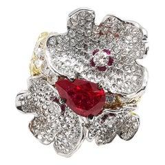 Moiseikin 18 Karat Gold Burmese Ruby White Diamond Flower Cocktail Ring