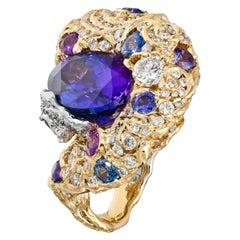 Moiseikin 18 Karat Gold Tanzanite Diamond Sapphire Cocktail Ring, Handmade