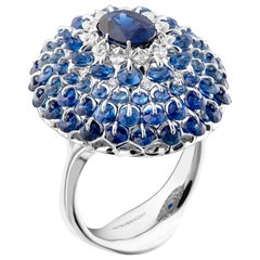 Moiseikin 18 Karat White Gold 1.37 Carat No Heat Sapphire Diamond Cocktail Ring