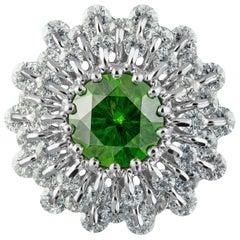 Moiseikin 18 Karat White Gold 1.38 Carat Demantoid Garnet Diamond Ring