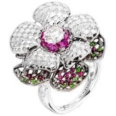 Moiseikin 18 Karat White Gold 2 Carat Diamond Poppy Flower Cocktail Ring