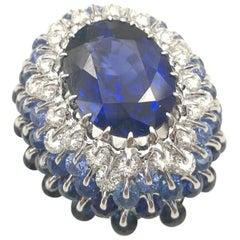 Moiseikin 18 Karat White Gold 8 Carat Sapphire Cocktail Ring