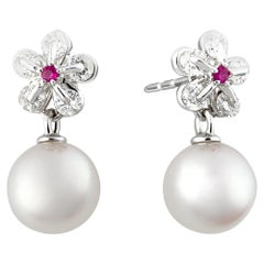 Moiseikin 18 Karat White Gold Diamond Akoya Pearl Stud-Earrings