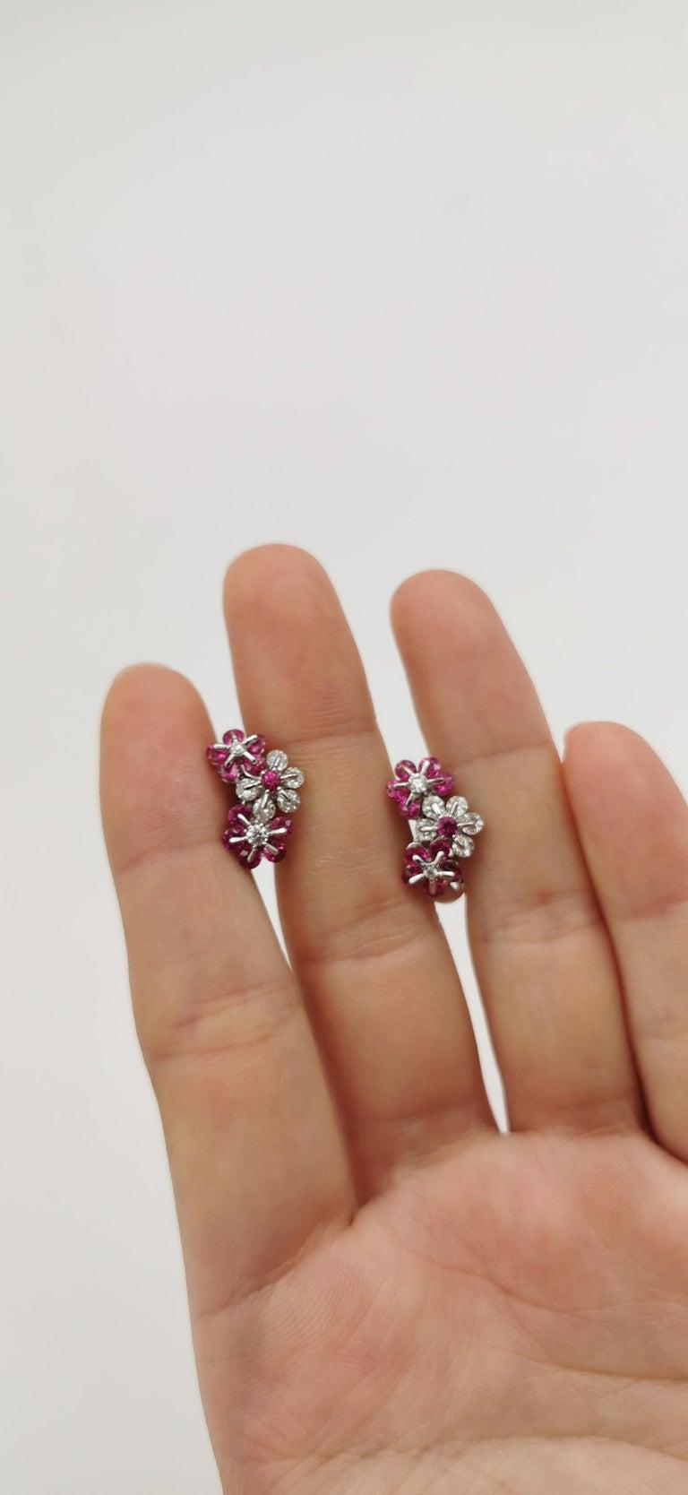 Round Cut Moiseikin 18 Karat White Gold Diamond Ruby Earrings For Sale