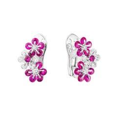 Moiseikin 18 Karat White Gold Diamond Ruby Earrings
