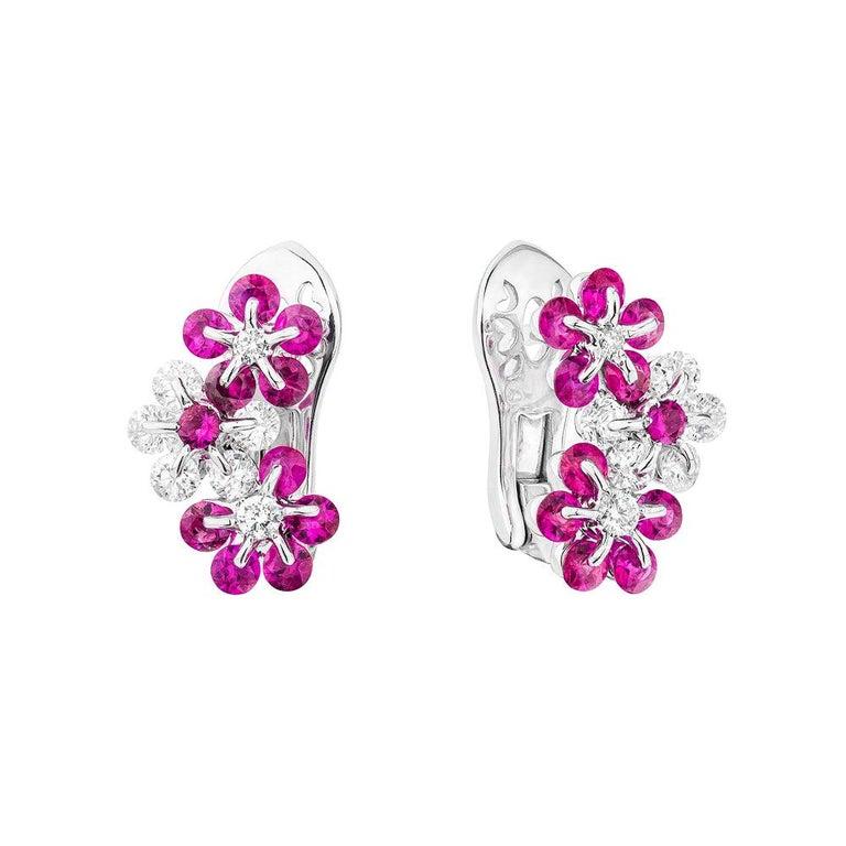 Moiseikin 18 Karat White Gold Diamond Ruby Earrings For Sale