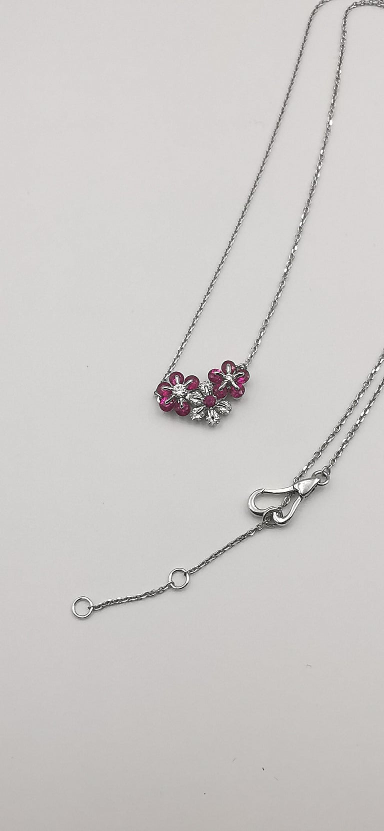 Contemporary Moiseikin 18 Karat White Gold Diamond Ruby Flower Necklace For Sale