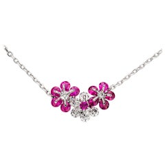 Moiseikin 18 Karat White Gold Diamond Ruby Flower Necklace