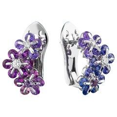 Moiseikin 18 Karat White Gold Fancy Sapphire Diamond Earrings