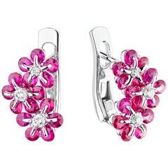 Moiseikin 18 Karat White Gold Ruby Diamond Earrings