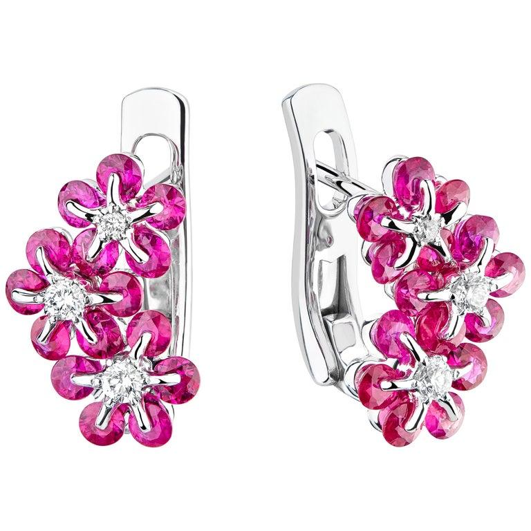 a2424b0b4 Moiseikin 18 Karat White Gold Ruby Diamond Earrings For Sale at 1stdibs
