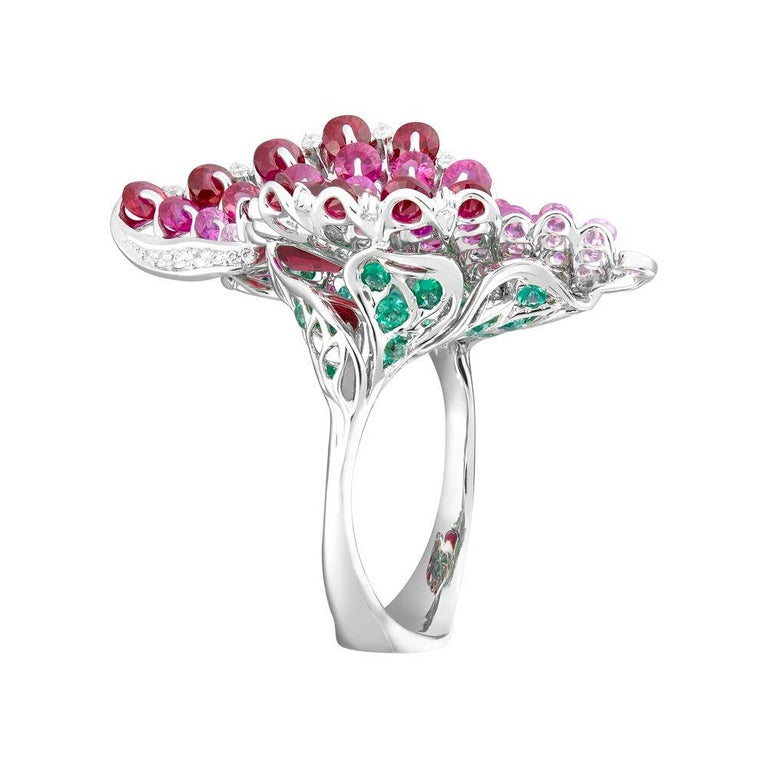 Contemporary Moiseikin 18 Karat White Gold Ruby Emerald Butterfly Cocktail Ring For Sale