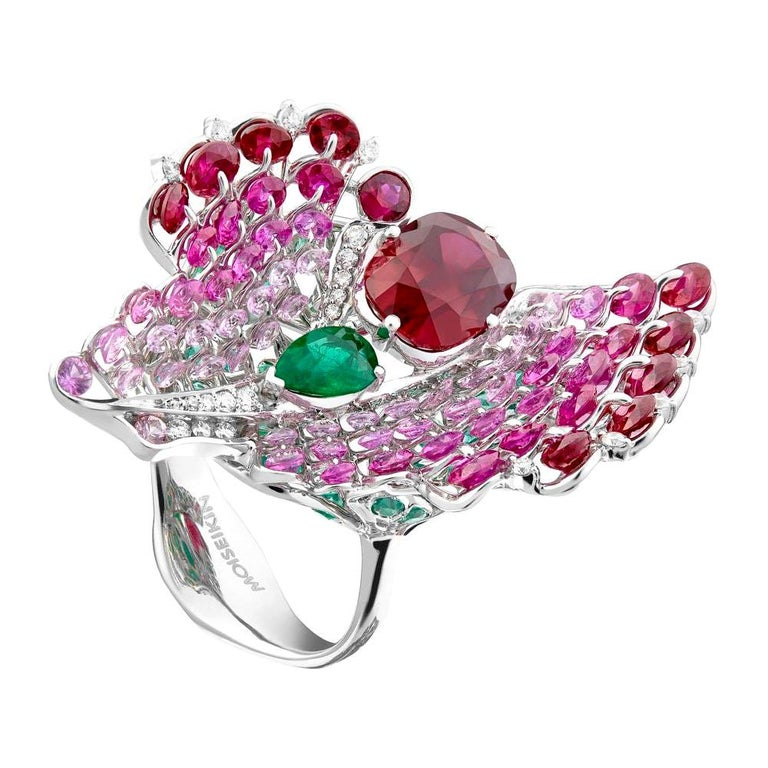 Moiseikin 18 Karat White Gold Ruby Emerald Butterfly Cocktail Ring For Sale