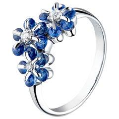 Moiseikin 18 Karat White Gold Sapphire Diamond Ring