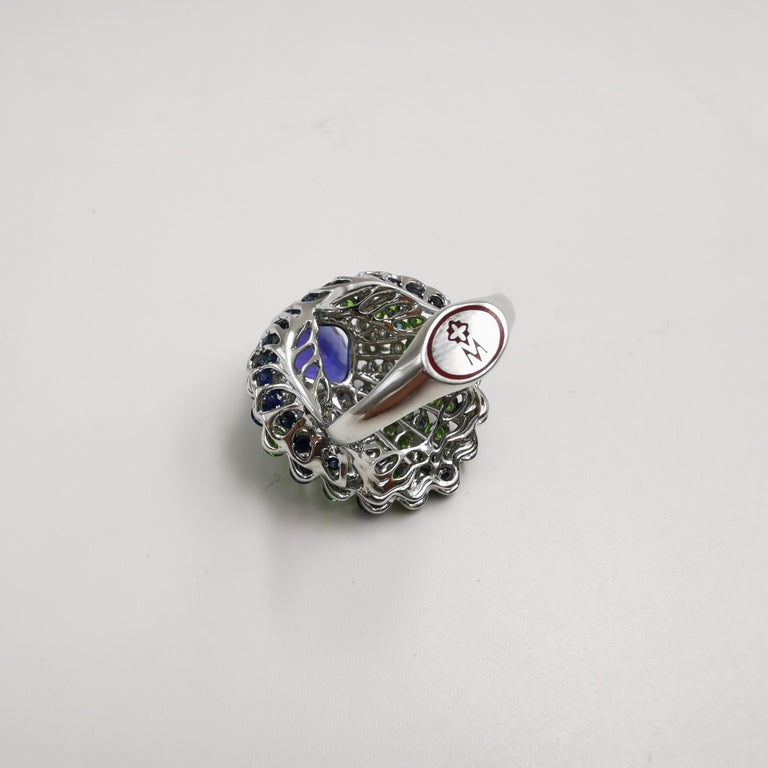 Contemporary Moiseikin 18 Karat White Gold Tanzanite Demantoid Sapphire Peacock Cocktail Ring For Sale