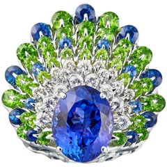 Moiseikin 18 Karat White Gold Tanzanite Demantoid Sapphire Peacock Cocktail Ring