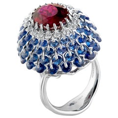 Moiseikin Rubellite Tourmaline Diamond Sapphire Cocktail Ring