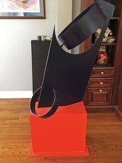 """Full Moon"" Moises Morgenstern Kinetic Sculpture Orange, Black Abstract Modern"