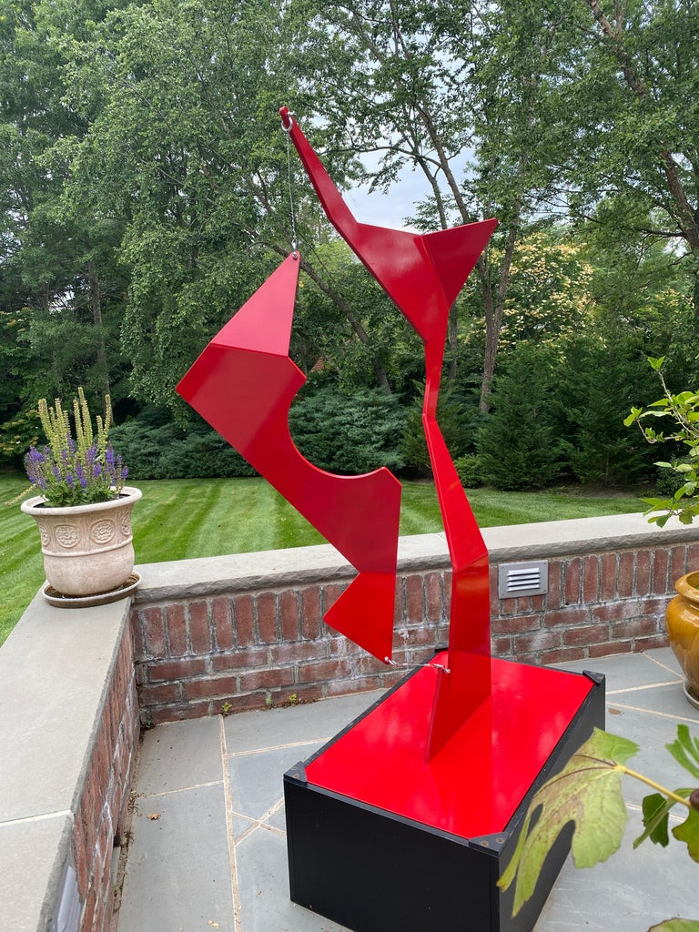 """Moises Morgenstern Abstract Sculpture - """"Mast Boom"""" Abstract Kinetic Outdoor Sculpture"""