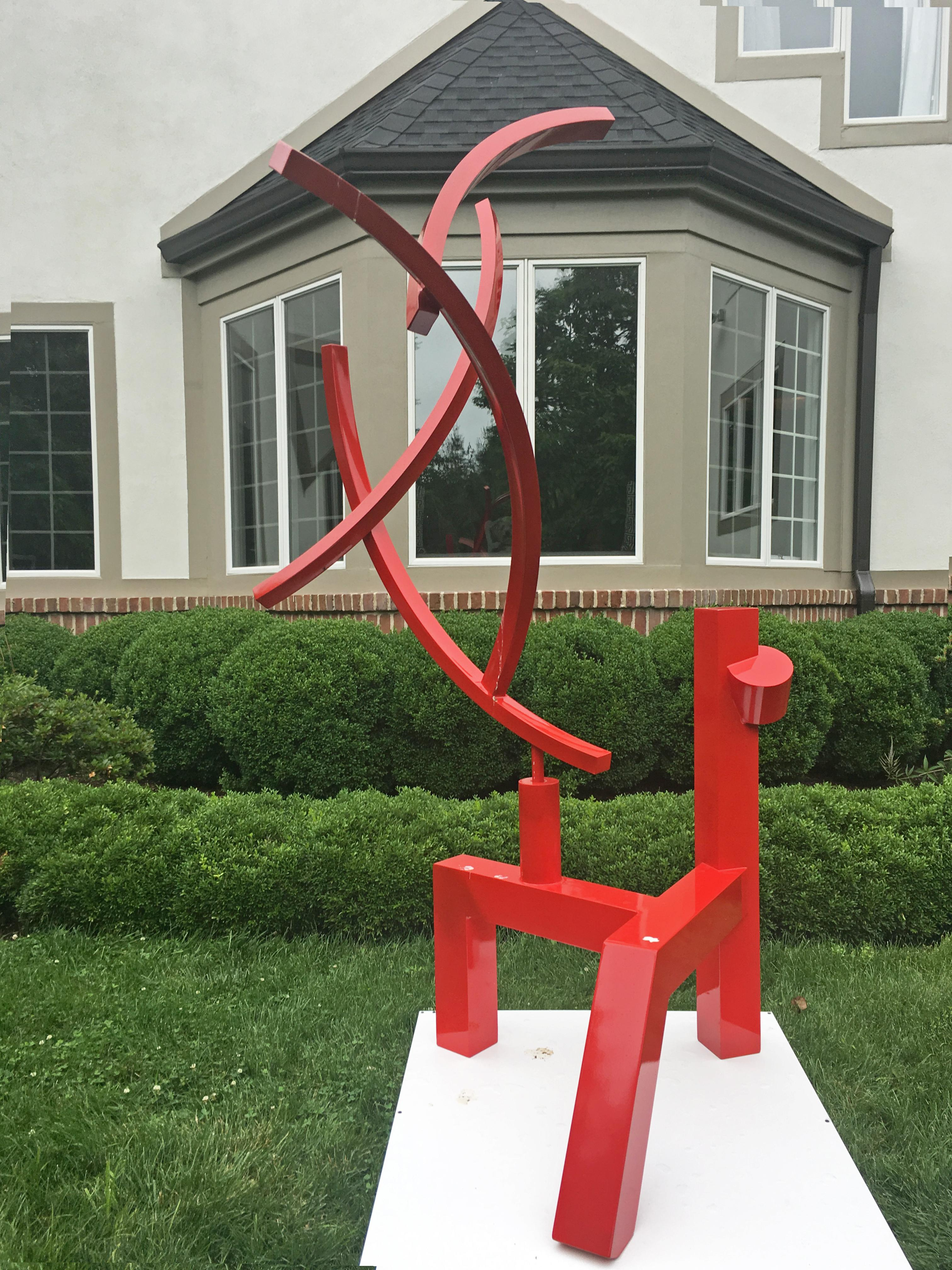 """""""Red Buck"""" Moises Morgenstern Kinetic Sculpture Red, Abstract Modern"""