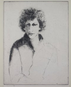 """Maria (Artist's Wife),"" framed original portrait etching by Moishe Smith"